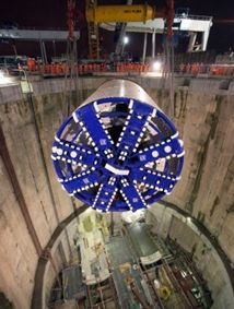 TBM Elizabeth being lowered into its launch shaft in October 2012 at the start of its journey.