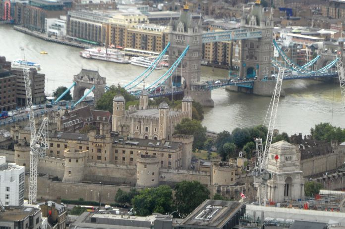 Looking down on Tower Bridge and the Tower of London