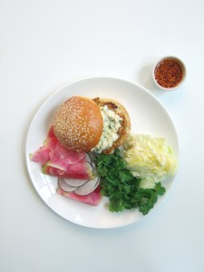 shrimp burger, jalapeño mayo, shaved radish salad, sesame gochujang (£15.00)