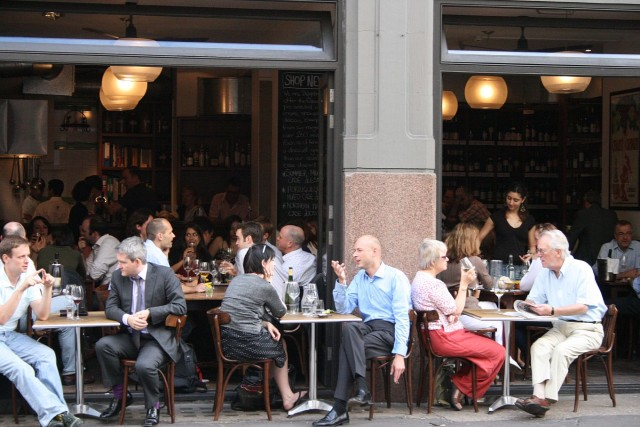 Vinoteca Farringdon.  In fine weather the restaurant space may be opened up to extend outside