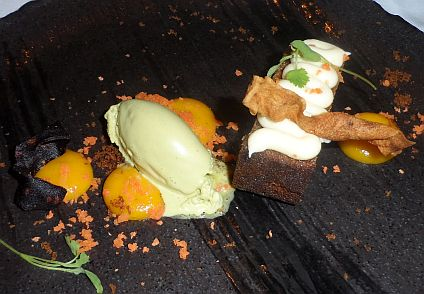 Carrot cake, tonka icing with pistachio ice cream