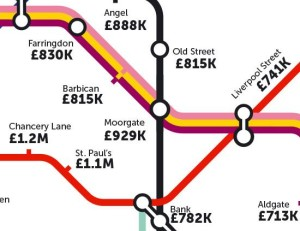 A blown-up version of the tube map prices in the general area around the Barbican