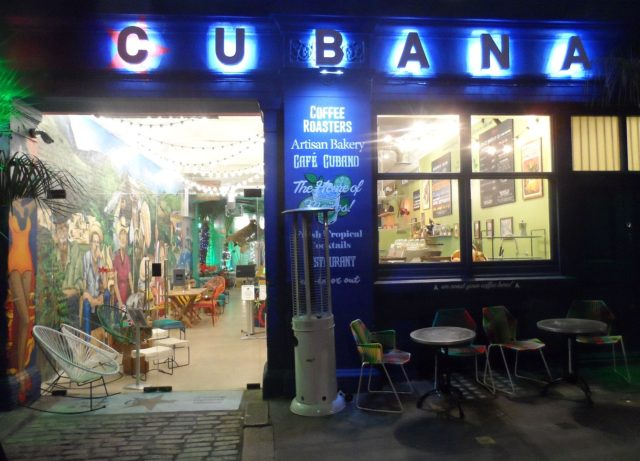 The brightly lit Cubana Smithfield with its garish decor on a Wednesday evening