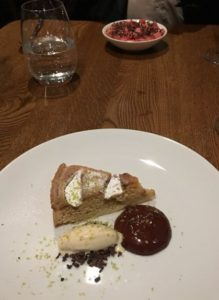 Pear and almond tart. The rhubarb panna cotta is at the top of the picture