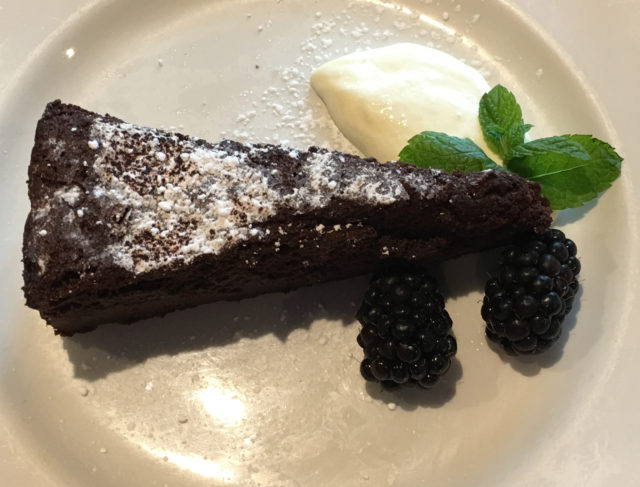Flourless chocolate cake with crème fraiche (£6.95)