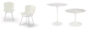 Bertoia chairs and Saarinen tables.