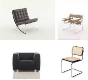 Above from top left: Barcelona® chair, Wassily chair, Barber Osgerby chair and Cesca chair. Images are representational only; sample sale colours and fabrics may differ.